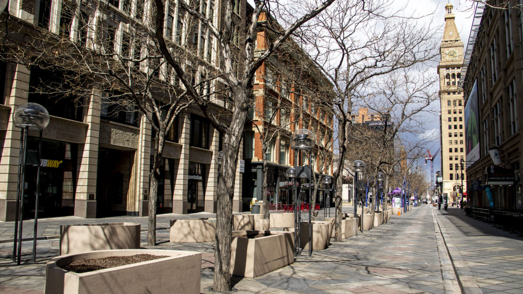 The 16th Street Mall is more sparse than usual as social distancing remains the norm in Denver, April 24, 2020. (Kevin J. Beaty/Denverite)