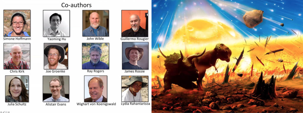 During a Zoom press conference, lead researcher David Krause presented both a slide of his colleagues and a slide depicting the end of the dinosaurs. April 28, 2020. (Courtesy: DMNS and colleagues)
