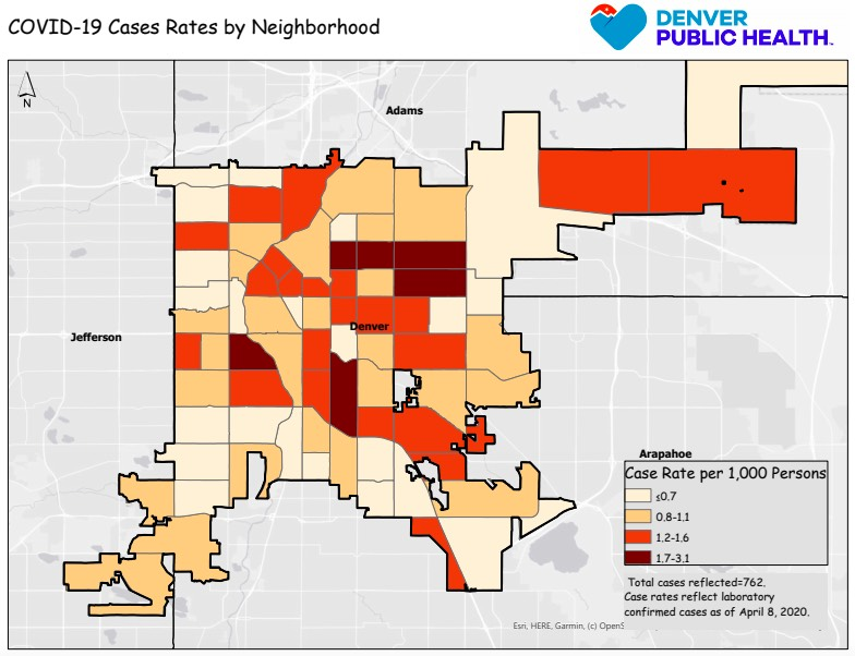 A breakdown of COVID-19 cases by neighborhood in Denver. Image courtesy of the Joint Information Center.