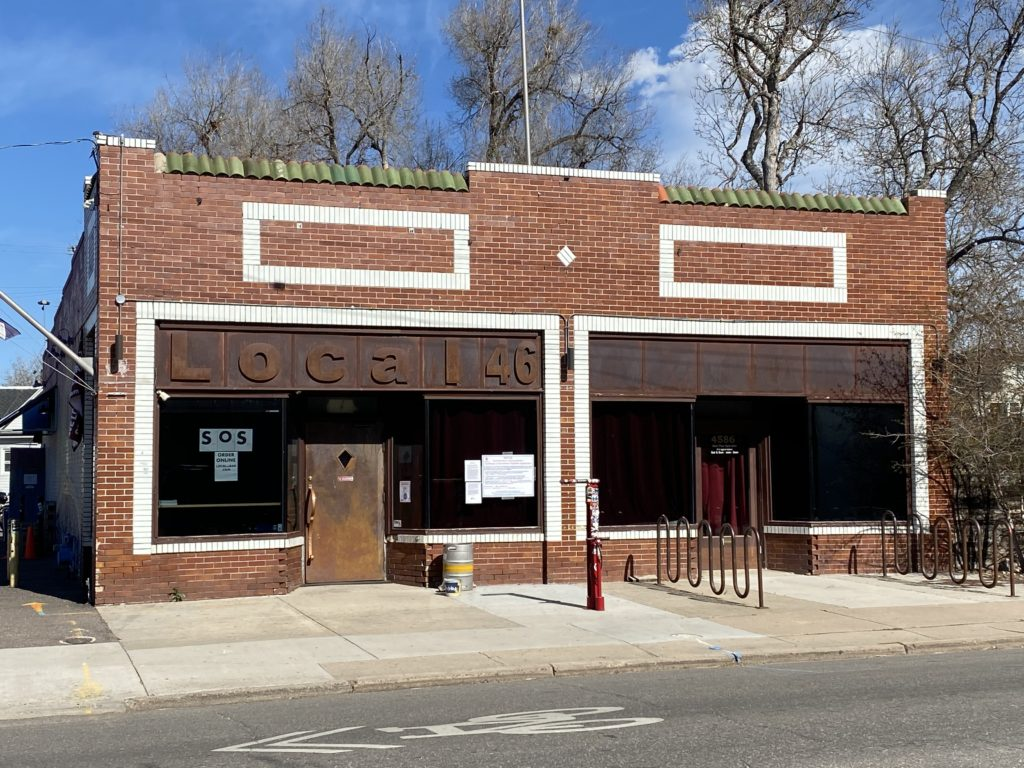 Local 46 at 4586 Tennyson St., April 28, 2020. (Dane Johnson for Denverite)