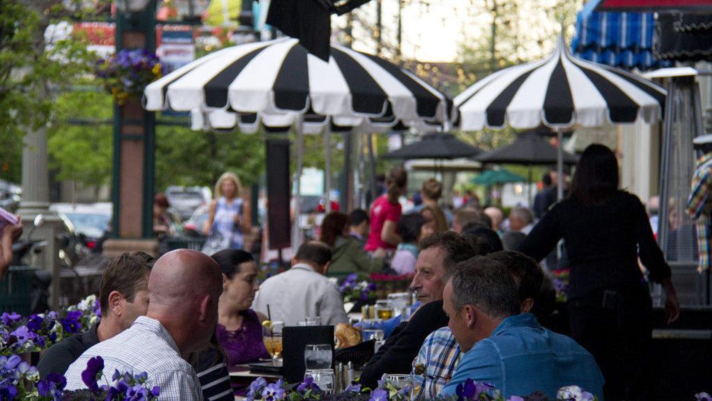 Outdoor dining at Ocean Prime in Larimer Square. (Kevin J. Beaty/Denverite)