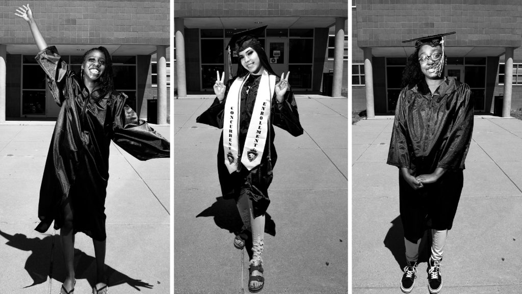 Arianna Penny, Ayesha Sanchez and Dasha George. May 8, 2020. (Kevin J. Beaty/Denverite)