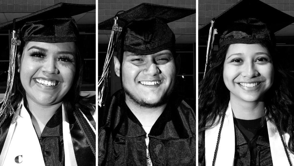 Elizabeth Rhenique Reyes, Brayen Herrera and Arlene Arreola. May 8, 2020. (Kevin J. Beaty/Denverite)