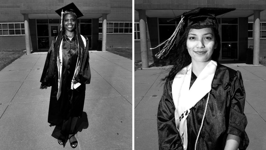 Lenia Evans and Bella Aragon. May 8, 2020. (Kevin J. Beaty/Denverite)