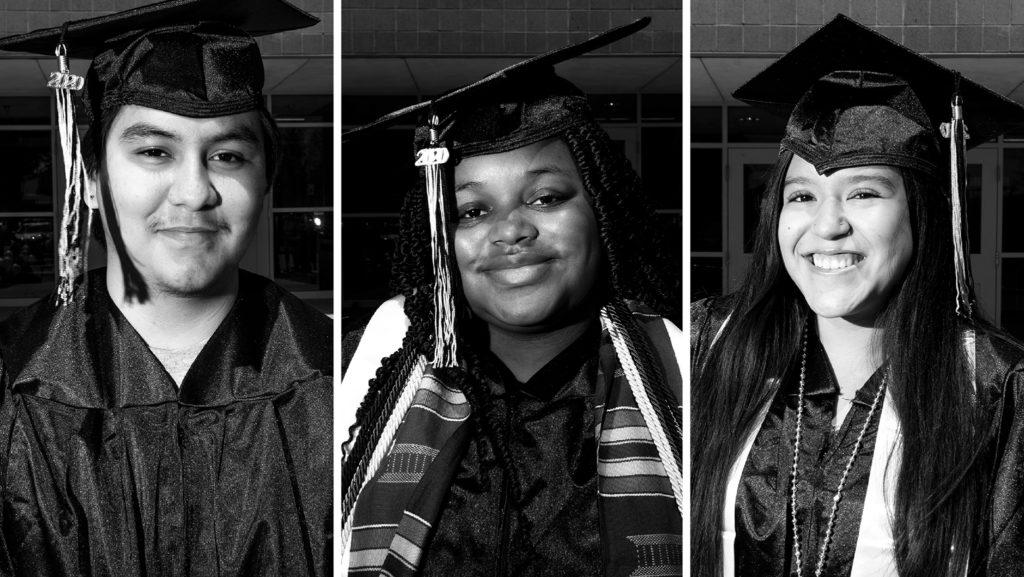 Luis Cabrera, Talaysia Jackson and Briannna Bañuelos. May 8, 2020. (Kevin J. Beaty/Denverite)