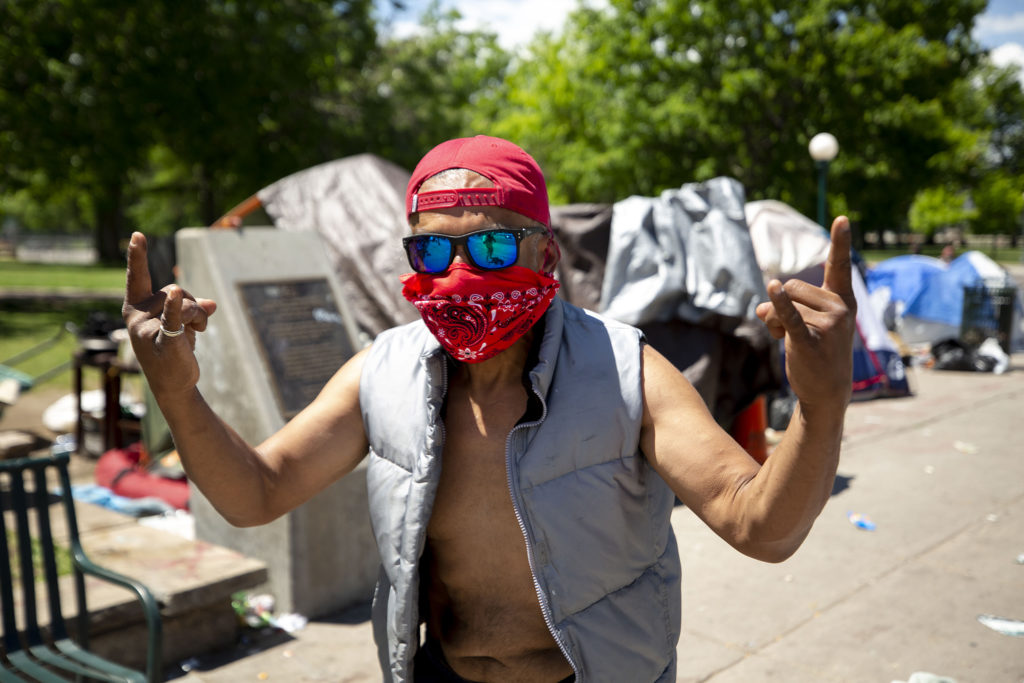 Gil deAragon was out by this camp when protesters confronted police Thursday night. He blamed police for pepper spray that wafter into tents here. May 29, 2020. (Kevin J. Beaty/Denverite)
