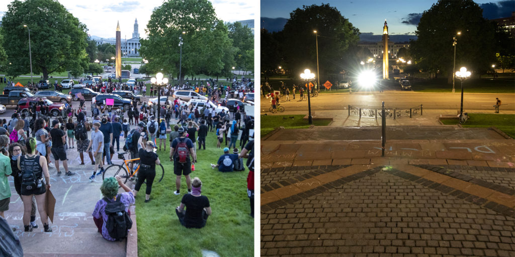 Protesters reacting to the killing of George Floyd filled the Capitol lawn (left) before police covered the block with tear gas and cleared the area within minutes (right). May 29, 2020. (Kevin J. Beaty/Denverite)