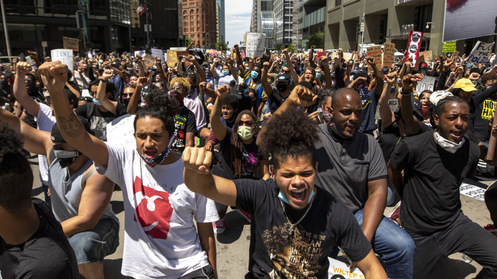 A huge march walks downtown on the third day of protests in reaction to the killing of George Floyd. May 30, 2020. (Kevin J. Beaty/Denverite)