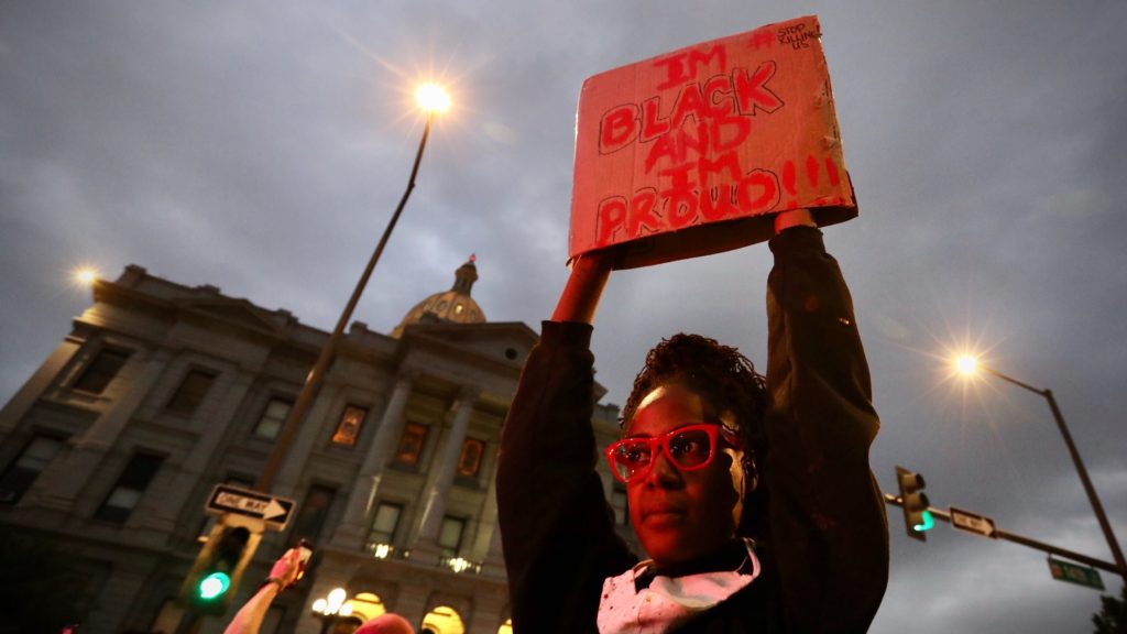 Protesters in downtown Denver demonstrate against the death of George Floyd on Thursday, May 28, 2020. (Hart Van Denburg/CPR News)