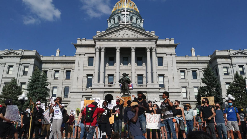 Hundreds gather at the state Capitol to protest the death of George Floyd on Thursday, May 28, 2020. (Kevin J. Beaty/Denverite)