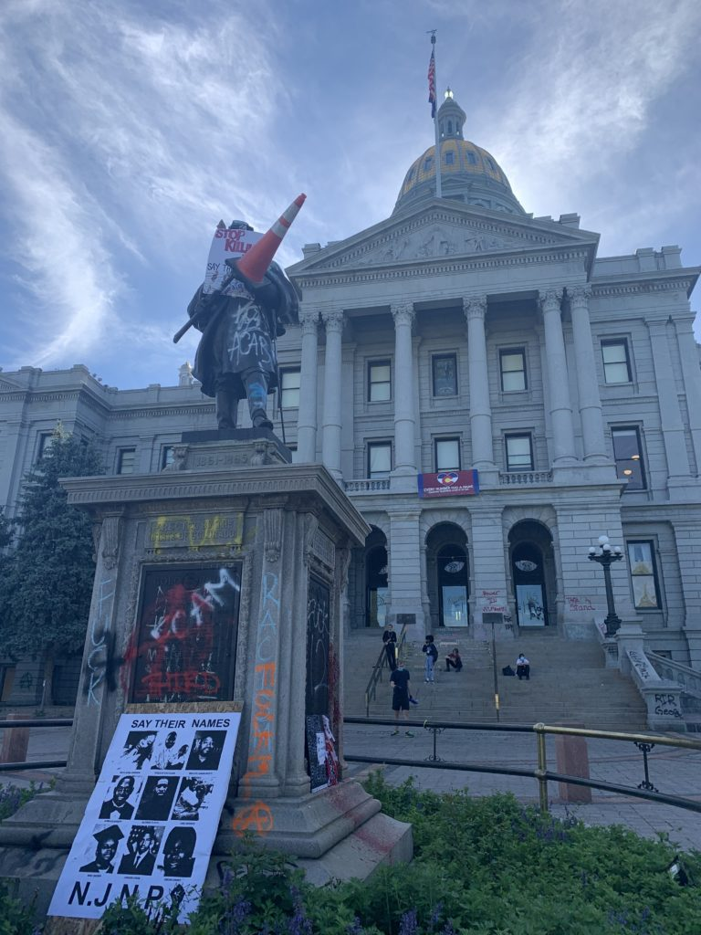 The Colorado Soldiers Monument the morning after Saturday's protest over George Floyd's death. (Ana Campbell/Denverite)