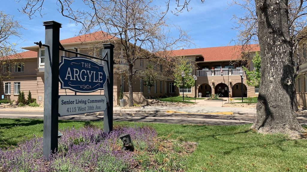 Outside the The Argyle Assisted Living on Monday, May 18, 2020, in Denver's Berkeley neighborhood. (Esteban L. Hernandez/Denverite)