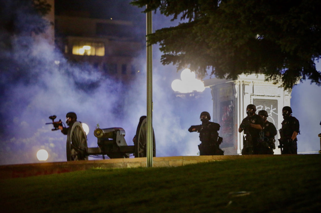 Protesters and police clashed on the second night of protests in downtown Denver during demonstrations over the death of George Floyd on Friday, May 29, 2020. (Hart Van Denburg/CPR)