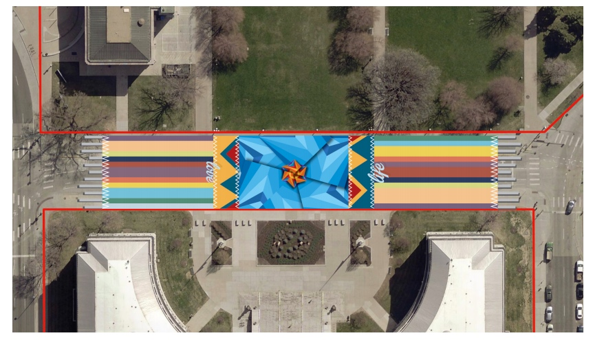 """A rendering of """"Interwoven"""" in front of the City and County Building in Denver. (Photo courtesy of So-Gnarc Creative Division)"""