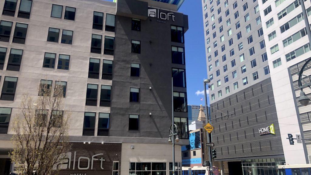 The Aloft Denver Downtown hotel, May 4, 2020. (David Sachs/Denverite)
