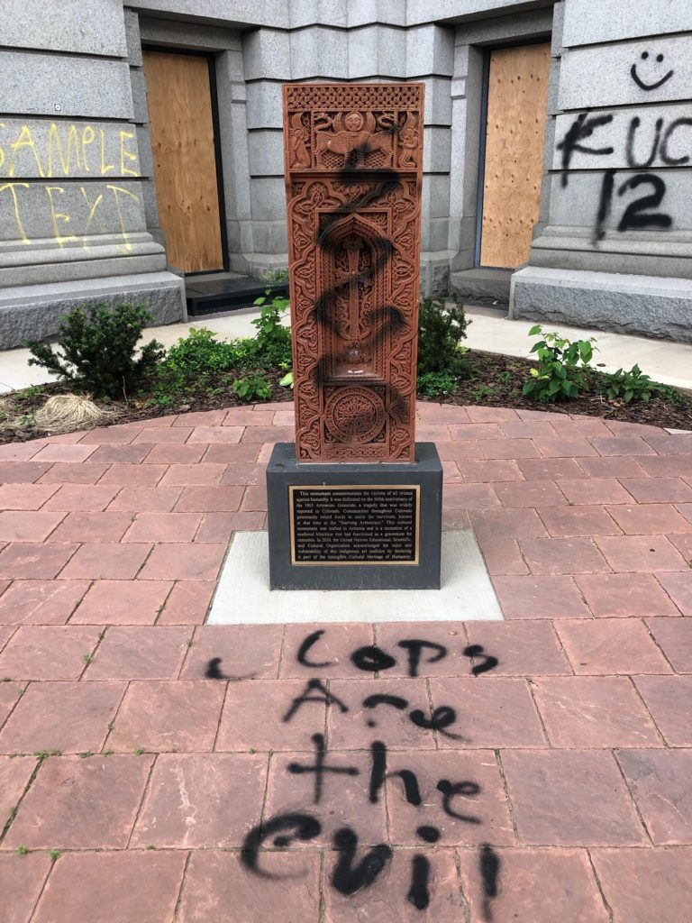 The defaced khachkar, a memorial to the victims of the Armenian genocide, at the State Capitol. (Courtesy: Pastor Brian Henderson, First Baptist Church of Denver)