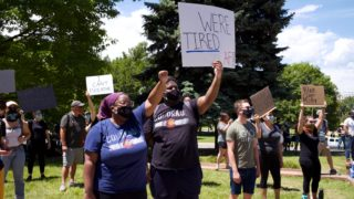 Protesters gather near the Capitol building in Denver on Sunday, May 31, 2020.