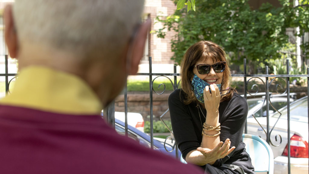 Lucy James, facing the camera, and  Kelsang Labsum during an interview at the Kadampa Meditation Center in Capitol Hill. June 1, 2020. (Kevin J. Beaty/Denverite)