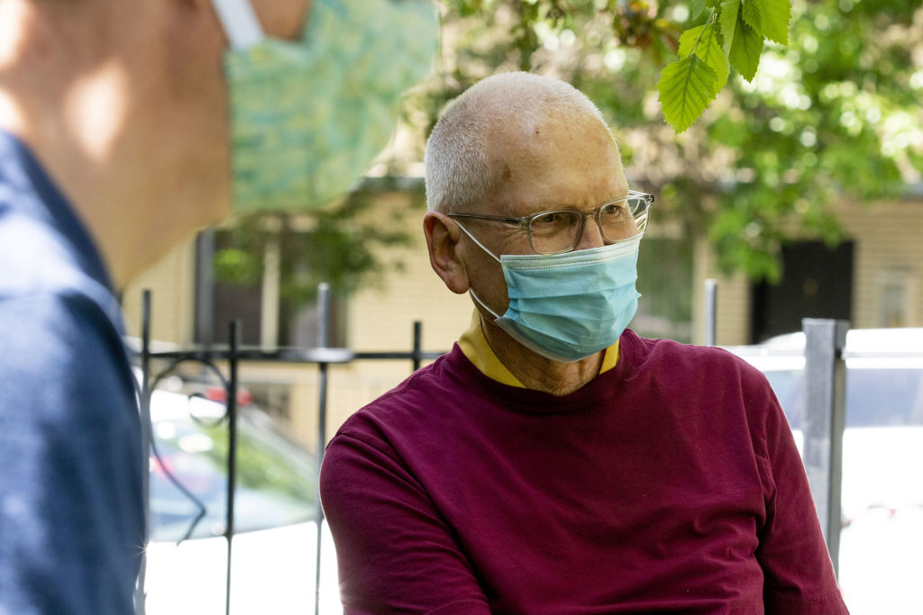 Nick Birdsall on the left and Kelsang  Labsum  during an interview at the Kadampa Meditation Center in Capitol Hill. June 1, 2020. (Kevin J. Beaty/Denverite)