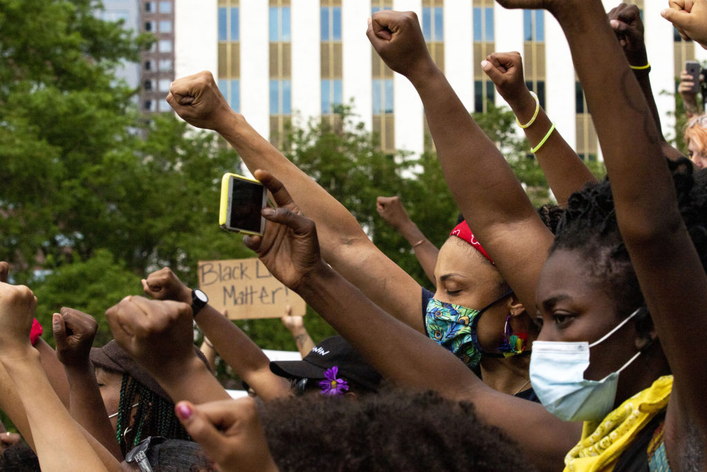 Elisabeth Epps leads a crowd on the Capitol steps on the sixth day of protests in reaction to the killing of George Floyd by Minneapolis police. June 2, 2020. (Kevin J. Beaty/Denverite)