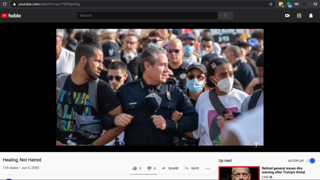 """A screenshot from the Trump campaign's """"Healing Not Hatred"""" video found on Youtube. It was pulled from Twitter after it was posted on June 3. (Photo by Hart Van Denburg for CPR News. Video by President Donald Trump's reelection campaign.)"""