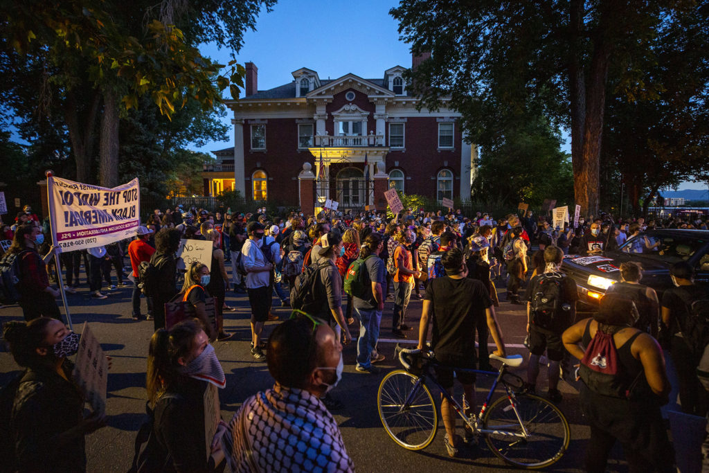 Marchers stopped in front of the Governor's Mansion as protests against police brutality continued on Saturday, June 7, 2020. (Kevin J. Beaty/Denverite)