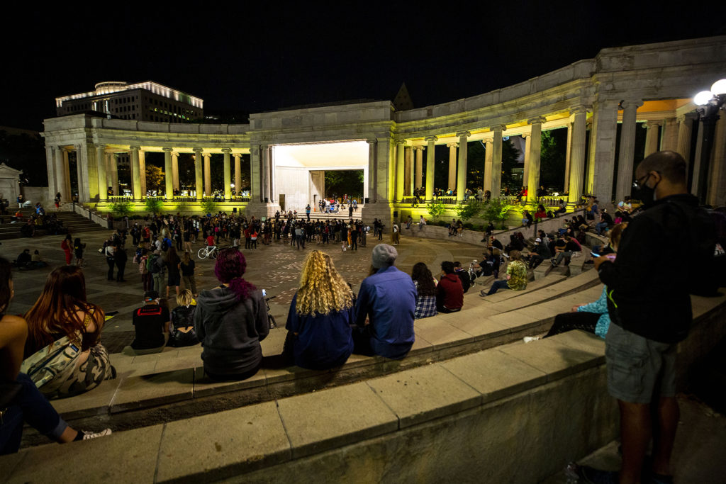 A mellow story and performance sharing time at Civic Center Park's Greek Amphitheatre as protests against police brutality continued on Saturday, June 7, 2020. (Kevin J. Beaty/Denverite)
