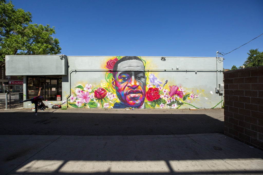 Artists Detour and Hiero painted a mural of George Floyd on the side of a Ready Temporary Services buildng at High Street and Colfax Avenue. June 7, 2020. (Kevin J. Beaty/Denverite)