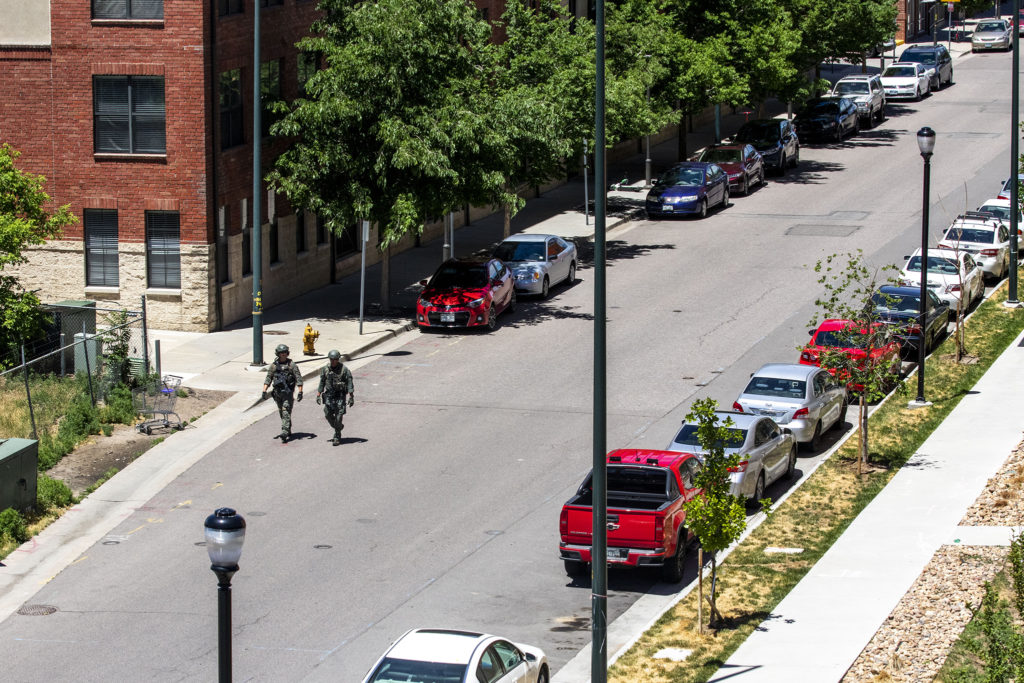 Authorities respond to a shooting in the Ballpark area of Five Points. June 10, 2020. (Kevin J. Beaty/Denverite)