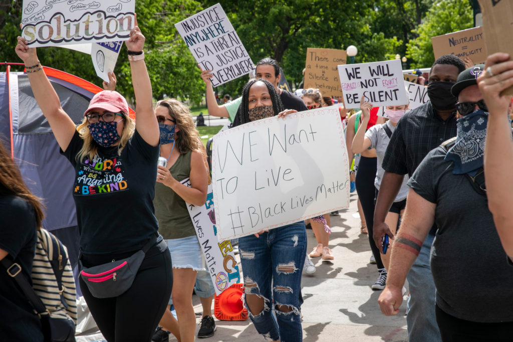 Educators opposing racism and police brutality and supporting Black Lives Matter, at the state Capitol Thursday, June 11, 2020.