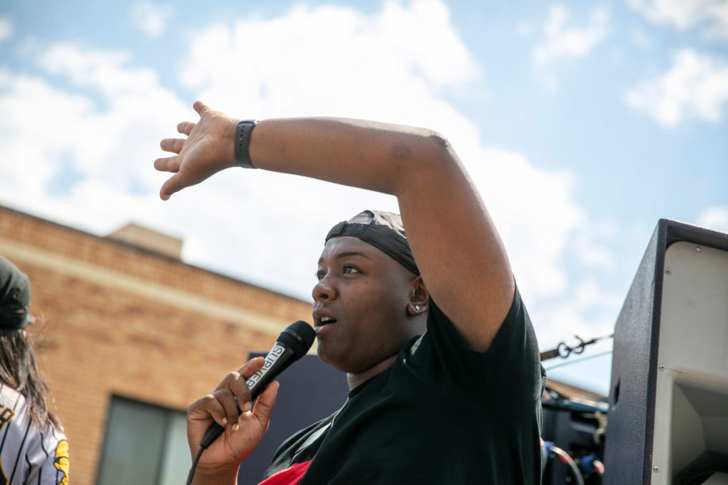 A student-led demonstration supporting Black Lives Matter, organized by DSST: College View High School in Denver, marched from Cheeseman Park to the Capitol on Tuesday, June 16, 2020. School Board member Tay Anderson led chants along the route.
