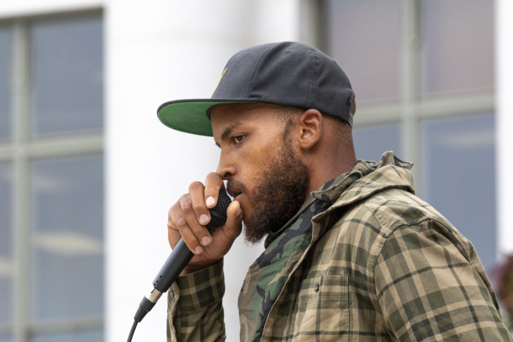 Trey Quinn speaks during the Denver People's Town Hall on the City and County Building steps on June 29, 2020. (Kevin J. Beaty/Denverite)