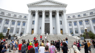 The Denver People's Town Hall, on the City and County Building steps. June 29, 2020. (Kevin J. Beaty/Denverite)