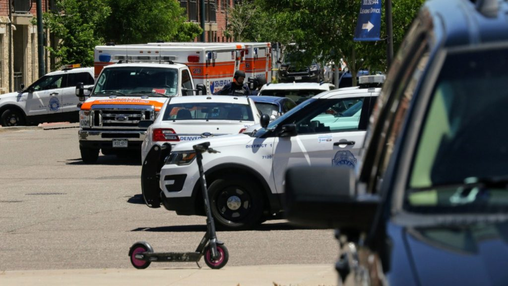 The scene near a fatal shooting in Ballpark, June 10, 2020. (Kevin J. Beaty/Denverite)