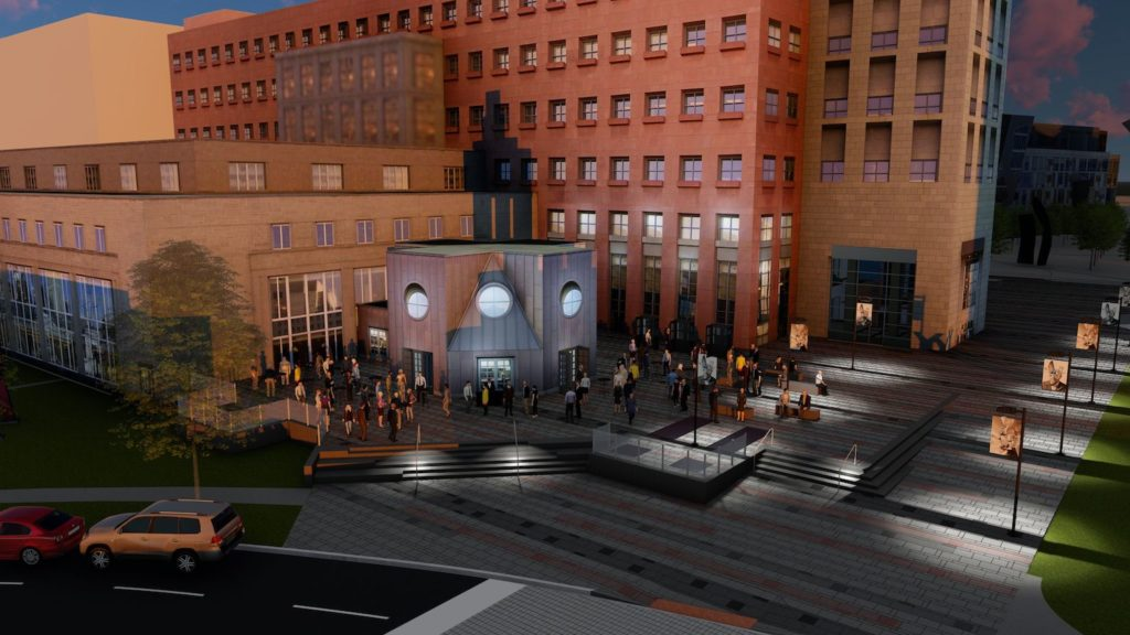 A rendering of the new Acoma Street plaza. The design is not finalized. (Courtesy, City and County of Denver)