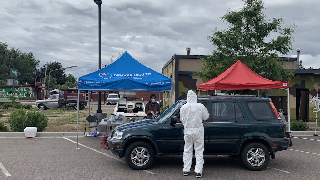 A community testing site for coronavirus at The Center for African American Health on Tuesday, June 9, 2020, in Denver. (Esteban L. Hernandez/Denverite)