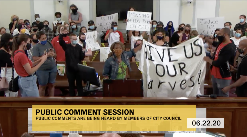 A screenshot of people taking over a Denver City Council meeting on June 22, 2020.
