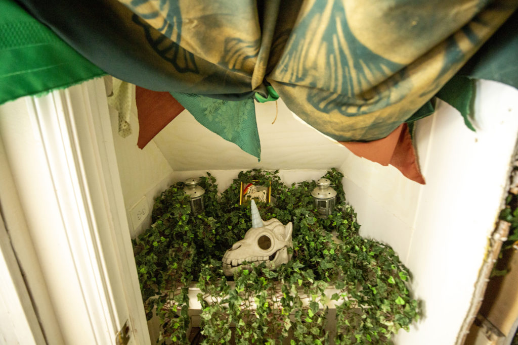 The Rainbow Militia has turned a bathroom at 4345 Tennyson Street into a secret art space. Berkeley, July 2, 2020. (Kevin J. Beaty/Denverite)