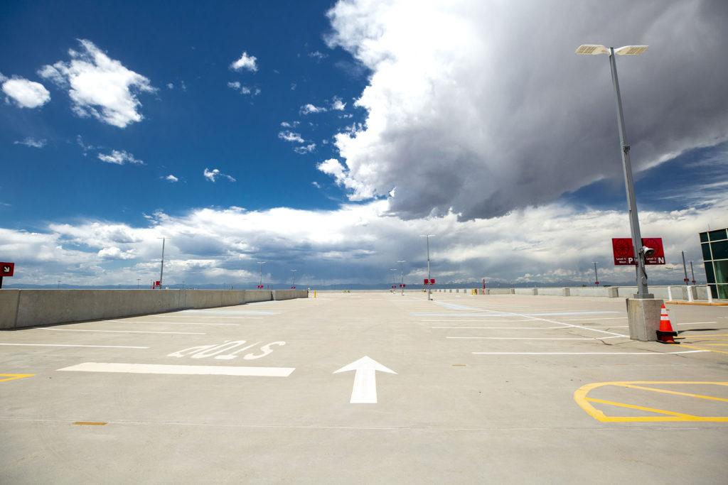 Denver International Airport's parking garage is basically empty. July 7, 2020.