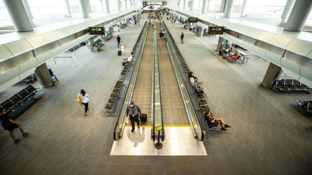 Inside Denver International Airport's C concourse. July 7, 2020.