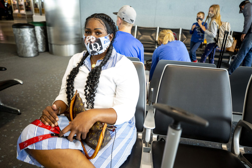 Cynthia Perry is in the midsts of a layover at Denver International Airport. July 7, 2020.