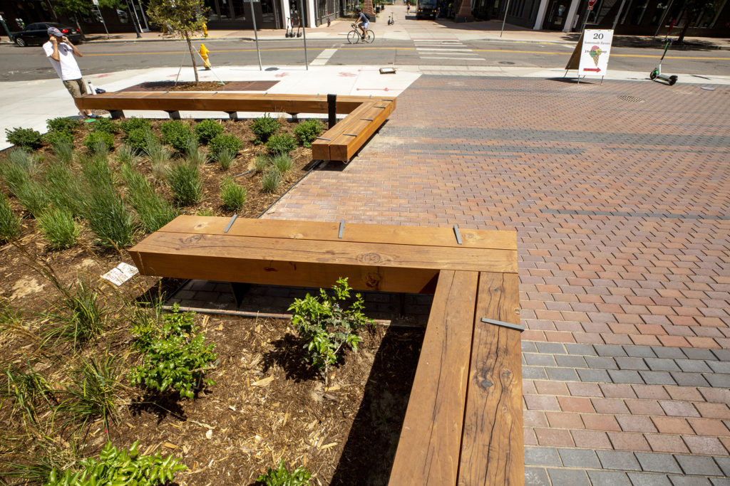 New benches at the newly completed Platte Street Plaza in Highland. July 8, 2020. (Kevin J. Beaty/Denverite)