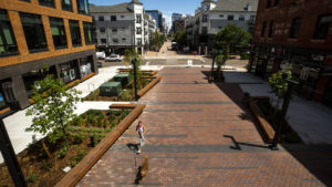 The Platte Street Plaza in Highland is complete. July 8, 2020. (Kevin J. Beaty/Denverite)