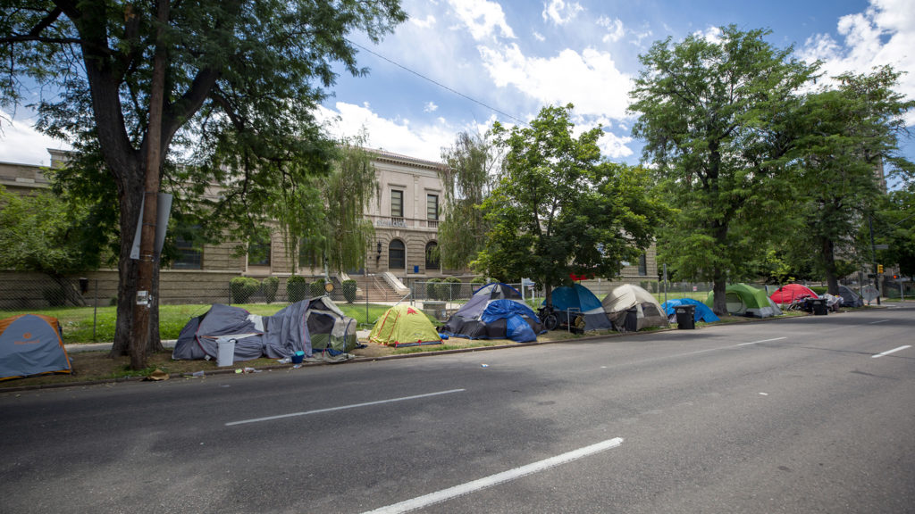 An encampment outside of Morey Middle School in Capitol Hill. July 9, 2020.