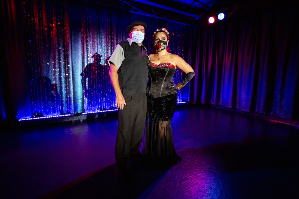 Jefferson and Selena Arca stand in the spotlight inside their Clocktower Cabaret beneath the 16th Street Mall. July 17, 2020.