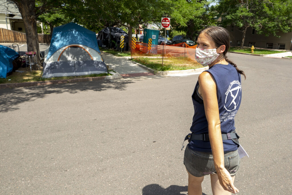 Terese Howard canvasses Five Points during Denver Homeless Out Loud's own count of tents in the city. July 17, 2020.