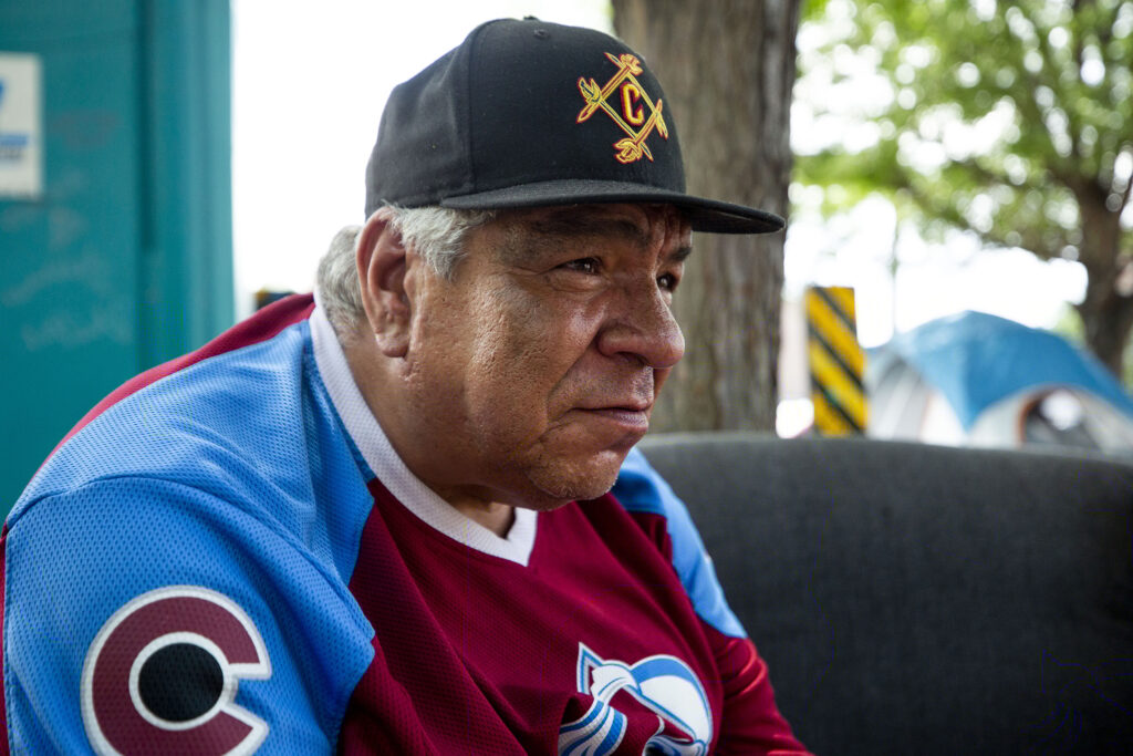 Vince Martinez speaks to a reporter during a Denver Homeless Out Loud count of tents in the city. July 17, 2020.