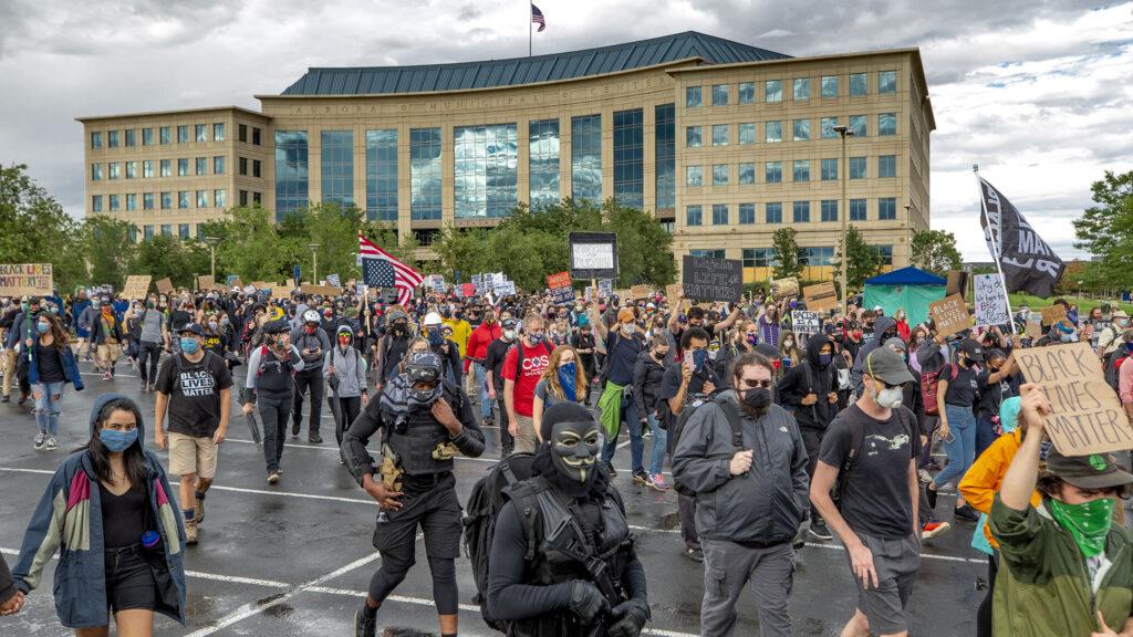 A protest march begins, demanding justice for Elijah McClain. July 25, 2020.