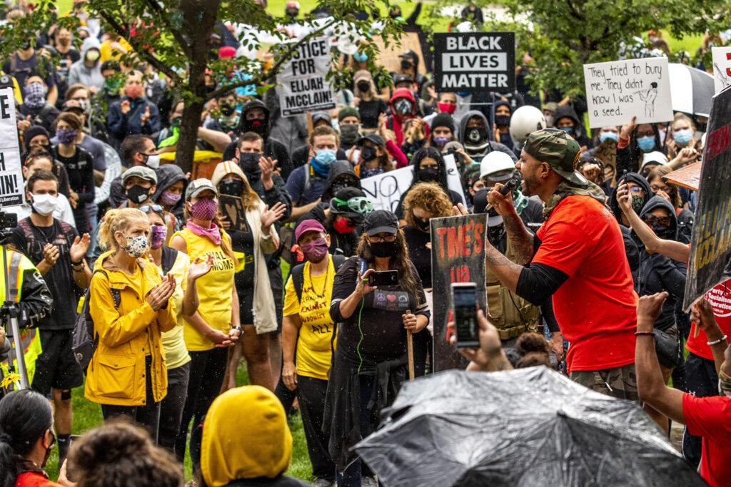 Terrance Roberts speaks during a protest demanding justice for Elijah McClain at Aurora's municipal complex. July 25, 2020.
