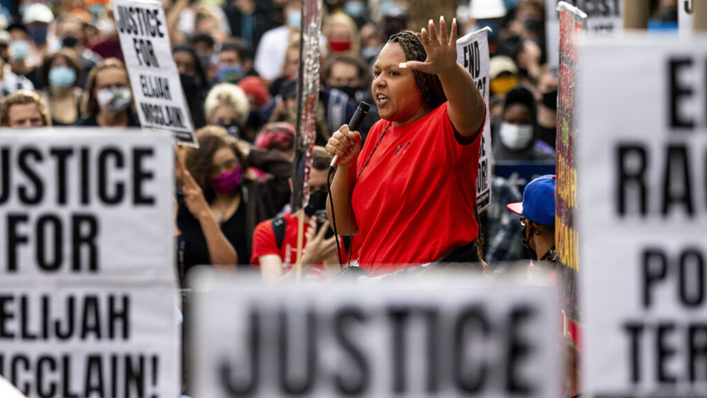 Candace Bailey speaks at a protest at Aurora's municipal complex demanding justice for Elijah McClain. July 25, 2020.